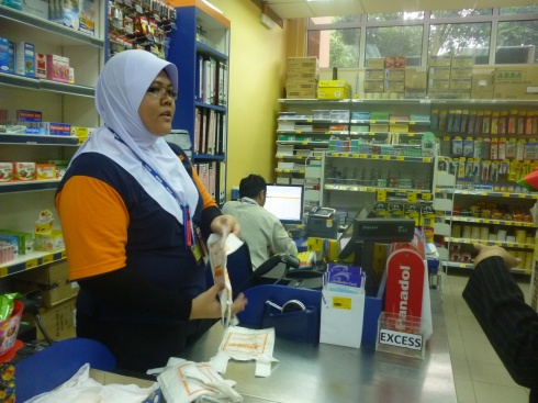 Student managing the store.